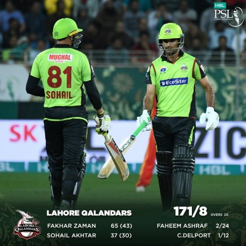 Fantastic Fakhar and Sensational Sohail gave the ideal start to the Qalandars but United bowlers fought back in the later part of the innings. We are up for an exciting second half of the #IUvLQ game. LQ: 171-8 (20 overs)